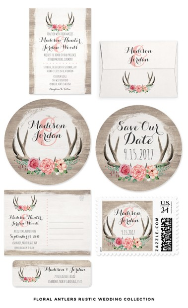 Floral Antlers Rustic Wedding Theme Set