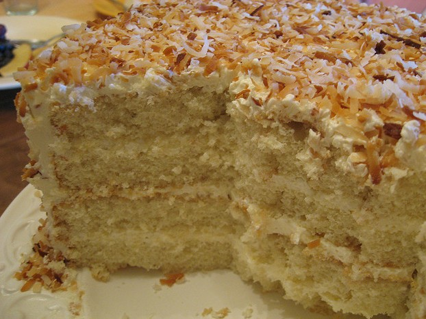 Coconut Cake With Toased Coconut Cream Cheese Frosting