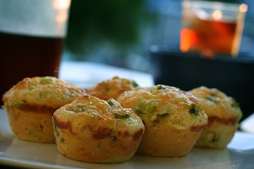 Green Onion And Cheddar Cheese Cornbread Muffins