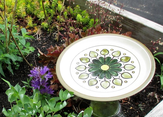 Birdbath Made From Old Dish and Glassware