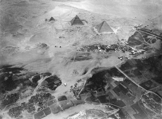 Pyramids of Giza. Photographed from a balloon from about 600 meters above ground.