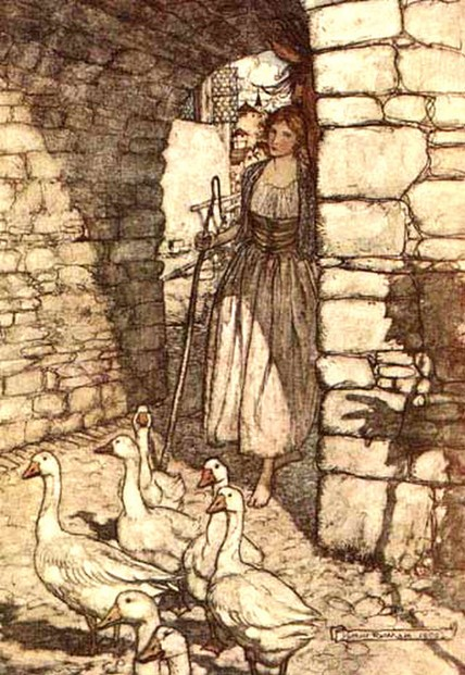 The Goose Girl illustration by Arthur Rackham