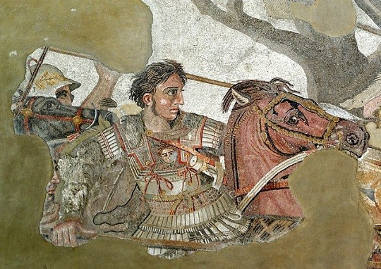 Alexander and Bucephalus in combat at the battle of Issus portrayed in the Alexander Mosaic
