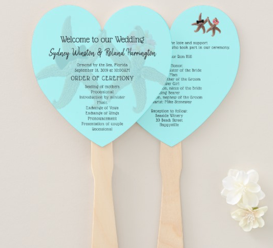 Heart Shaped Beach Wedding Program Fan