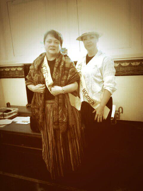 me dressed as a  suffragette style dating 1913 approx
