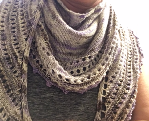 "Easy ""Spindrift"" shawl knit by me"