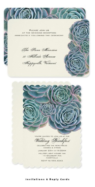 Succulent Invitations and Reply Cards