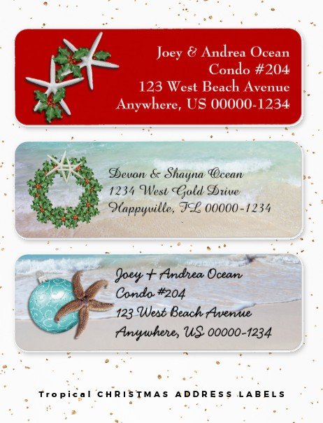 Beach Christmas labels