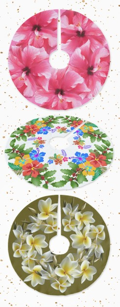 Tropical flowers on tree skirts