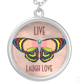 Live, Laugh, Love Butterfly Necklace