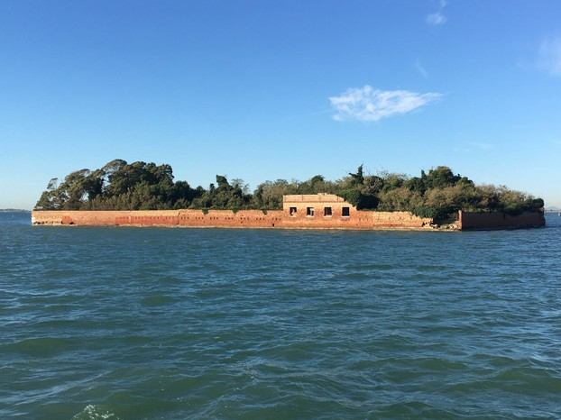 An abandoned island in the lagoon as we departed Venice for the mainland.