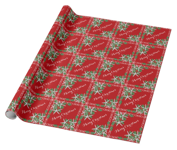 Starfish Red Christmas Gift Wrapping Paper