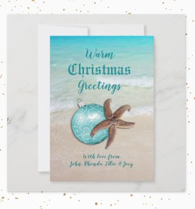 Starfish Warm Greetings, Flat Card - greeting front, photo back