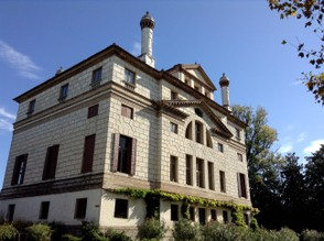 The rear view of the villa