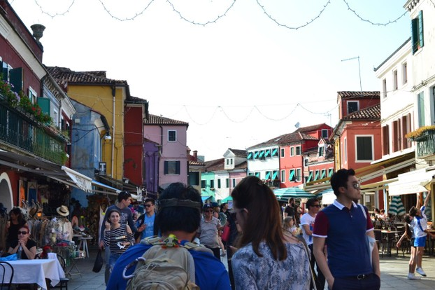 The main shopping streets of Burano can get quite busy mid-day.