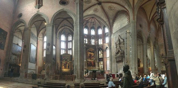 Panoramic view inside the Basilica di Santa Maria Gloriosa dei Frari