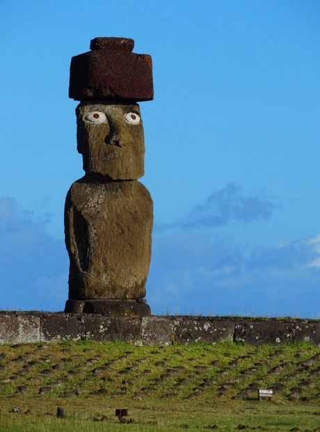 Ahu Ko Te Riku is the only moai on Easter Island that has had its eyes restored to how they probably originally appeared