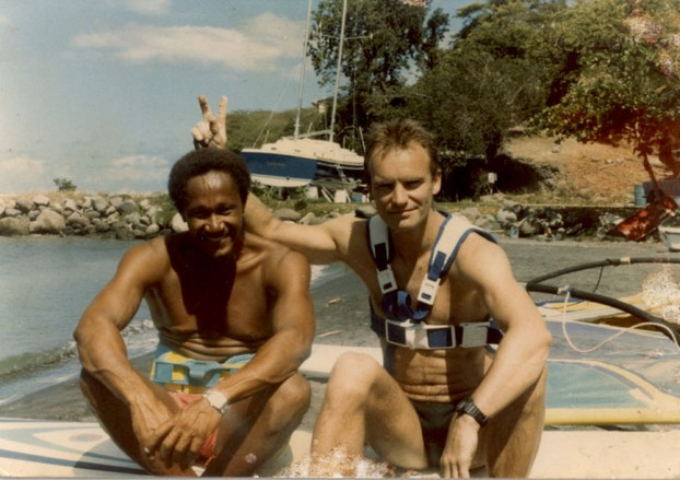 A photo of Danny with Sting, which he gave us to keep after our windsurfing adventures on Montserrat