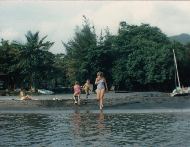 The black sand beach at Old Road Bay. This was 1988, as I recall.