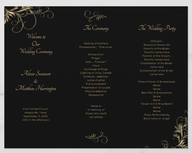 Black With Gold Wedding Programs