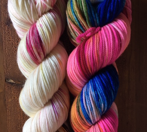 "Twisted ""hank"" of hand-dyed yarn"