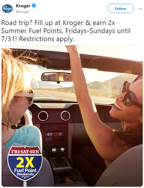 Kroger's double fuel points in effect May to July 2016