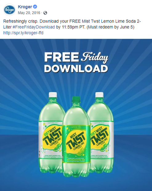 Kroger's Friday download for May 20, 2016