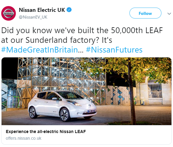 In March 2013, Nissan opened plant in Sunderland as third Nissan LEAF production facility.