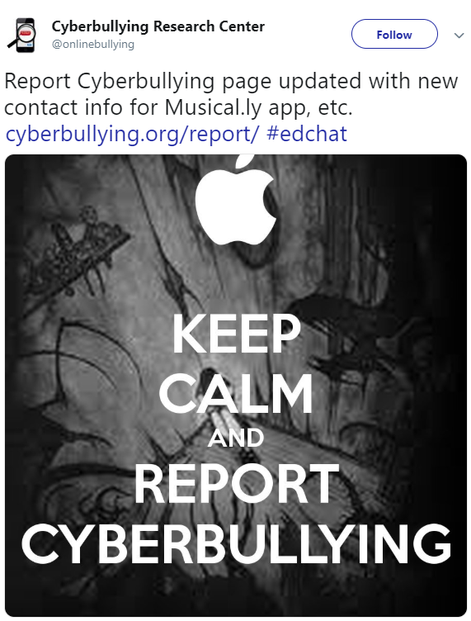 """Report Cyberbullying"" page is ""constantly updated."""