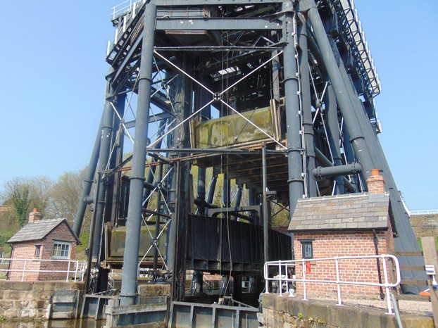 the boat lift- one caisson up, one caisson down
