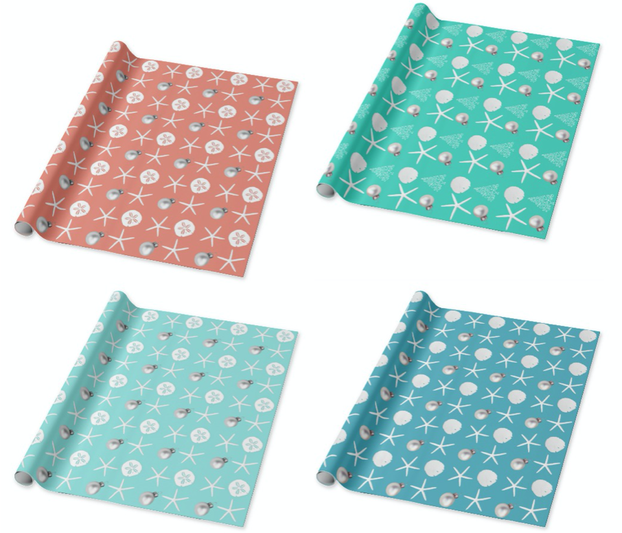Starfish and sand dollars holiday wrapping paper