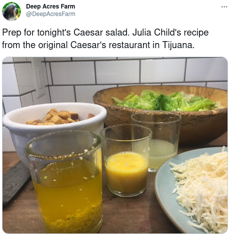 Julia Child verified original recipe with Rosa Maria Cardini, Caesar's daughter.