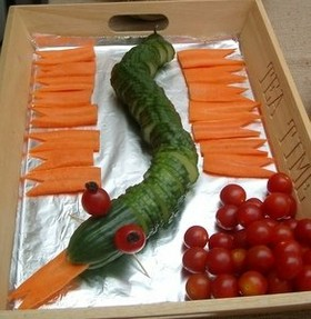 Cucumber Snake for a Kids Party