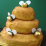 Attach the bees to the cake