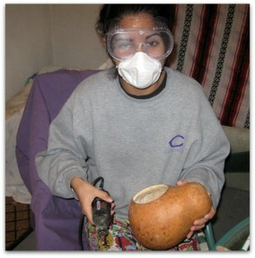 Wear a mask when sanding gourds