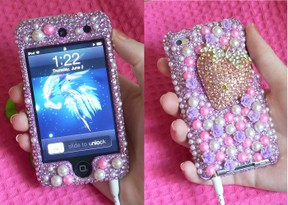 iPod Touch Rhinestone Pink Case 3D