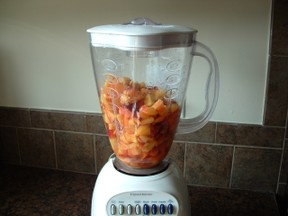 diced peaches in blender
