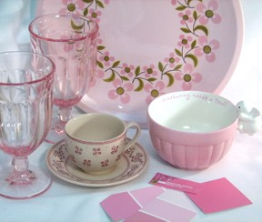Pink dishes and glassware