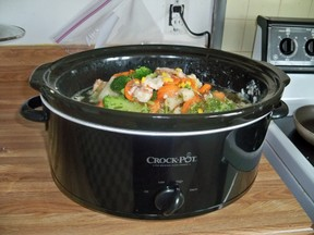 Crockpot loaded with all ingredients