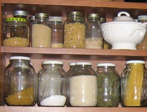 Shelves stocked with pantry staples