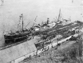 The SS Sardinian with embarking Canadian Troops off to the Boer War in 1899 ~ Quebec
