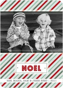 Cute Photo Christmas cards Noel stripes