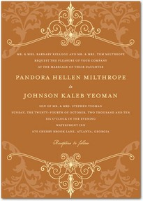 Signature White Wedding Invitations Regal Refinement : Rust