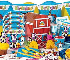 Barnyard farm animal themed party supplies decoration for Animal party decoration ideas