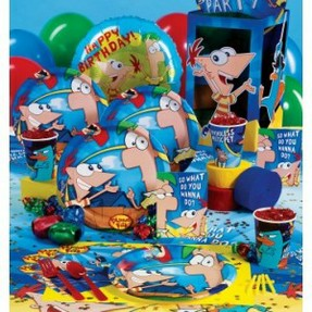 Phineas and Ferb Party Set # 27 Cups Plates Napkins Tablecover Invites Favors