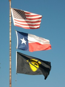 United States, Texas and 1st Calvary Division Flags