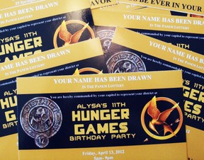 hunger games invitations