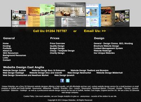 Website footer gives a selection of website designs