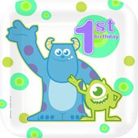 Monsters Inc 1st Birthday Dinner Plates