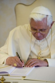 Pope Benedict XVI writing